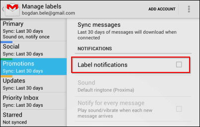 Gmail Android app notifications