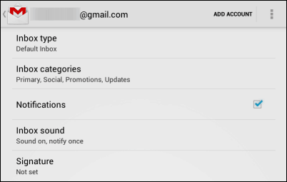 Gmail Android app notificationsGmail Android app notifications