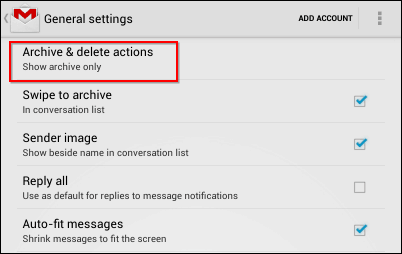 Gmail Android app restore delete button archive delete