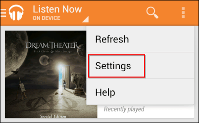 Google Play Music data use settings