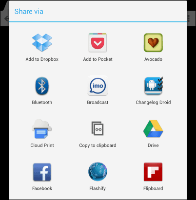Use flashify share menu