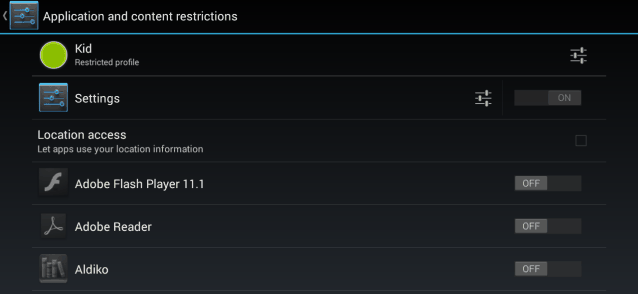 Android 4.3 restricted profile location