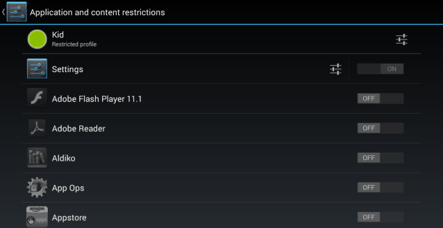 Android 4.3 restricted profile set apps to use
