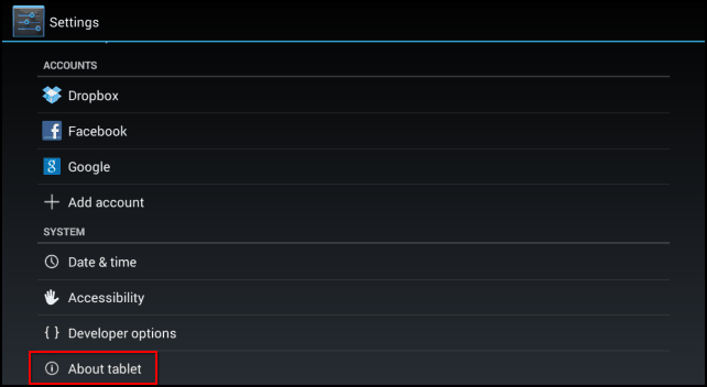 Android version jelly bean settings About tablet