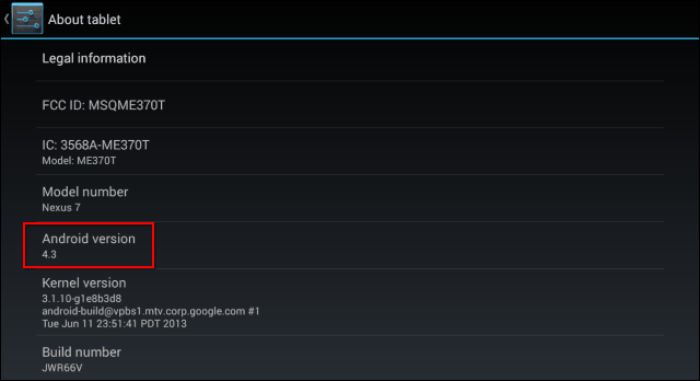 Android version jelly bean settings version