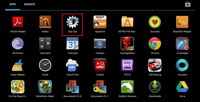 App ops menu