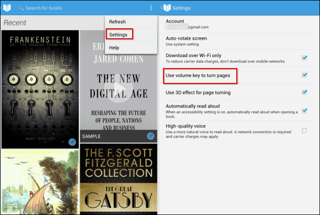 Google Play Books volume turn pages