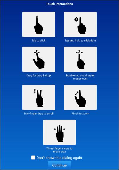 TeamViewer Android gestures
