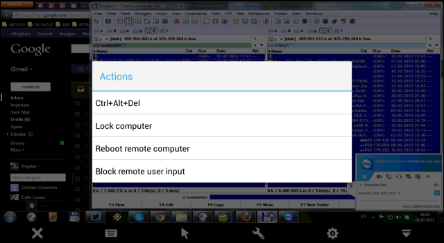 TeamViewer Android send command