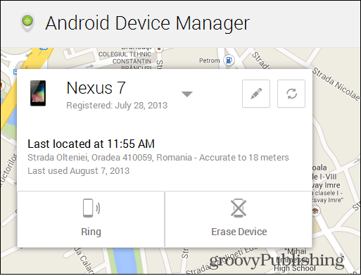 Android Device Manager map