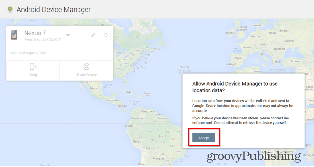 Android Device Manager we interface accept