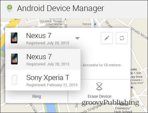 Android Device Manager web interface devices
