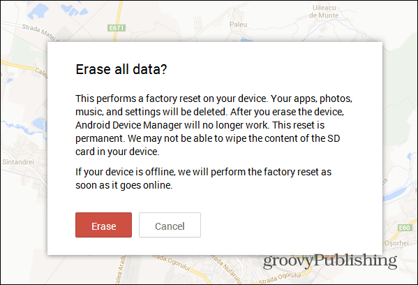 Android Device Manager web interface factory reset