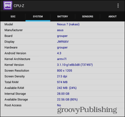 Cpu-z Android system