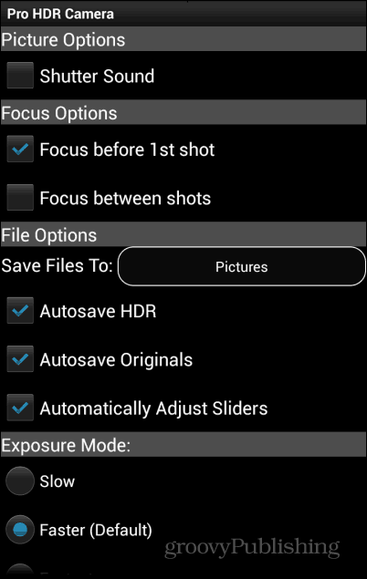 Pro HDR Camera settings 1