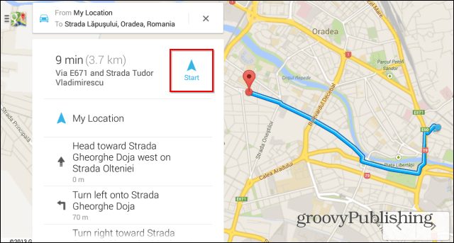 Quick start Google Maps navigation pin