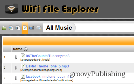 WiFi File Explorer buttons