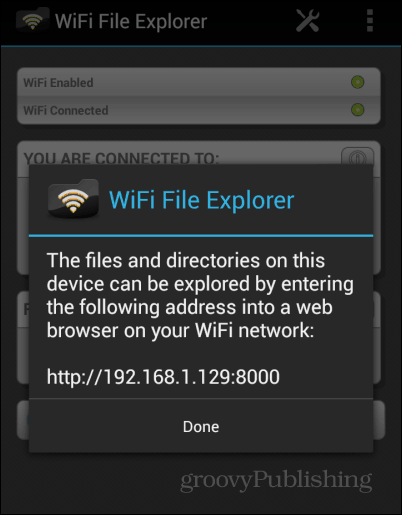 WiFi File Explorer start