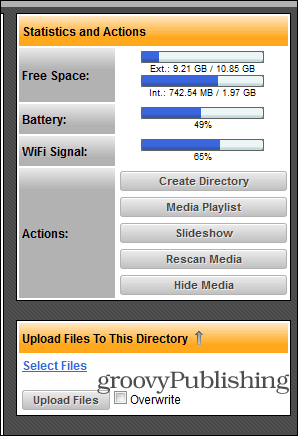 WiFi File Explorer upload menu