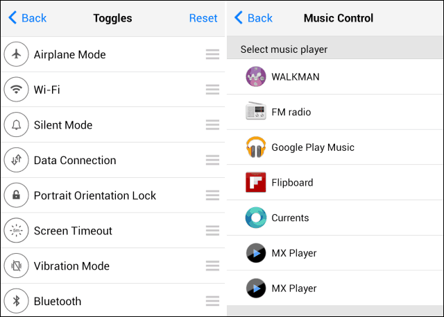 iOS 7 control panel android start music player