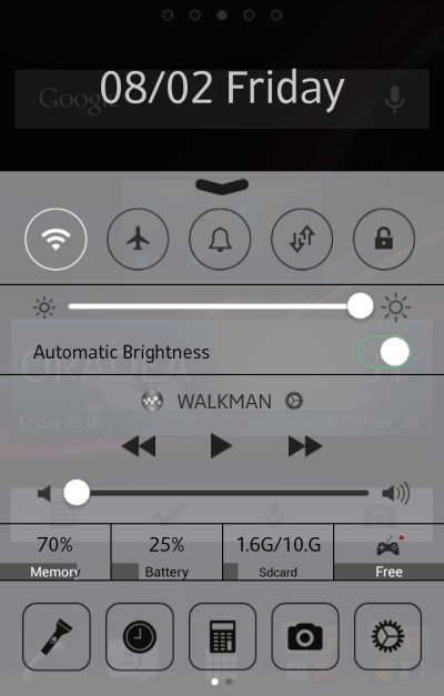 iOS 7 control panel android working