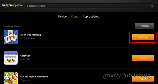 Amazon Appstore My Apps Download Cloud