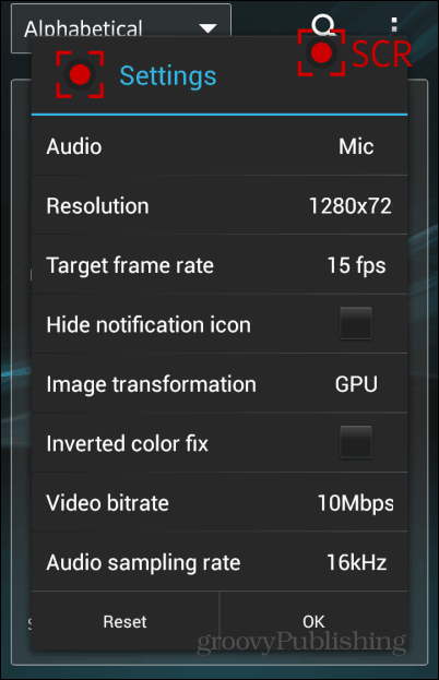 SCR Screen Recorder Settings
