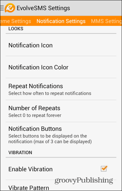 EvolveSMS notification settings