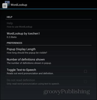 WordLookup settings
