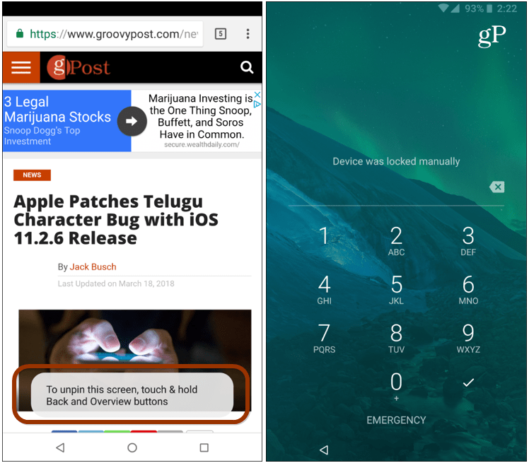 How To Use The Screen Pinning Security Option On Android