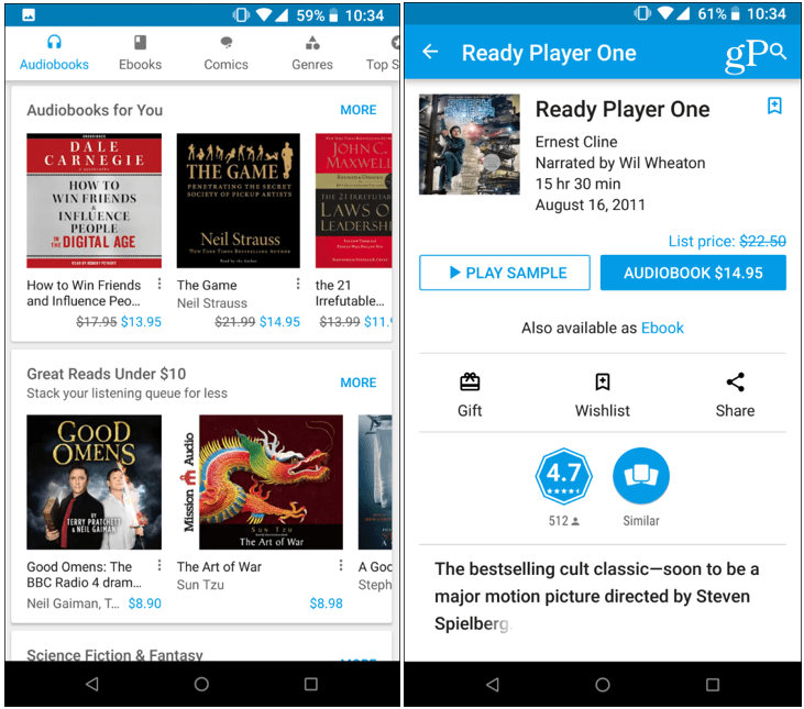 Audiobooks Google Play Android 2