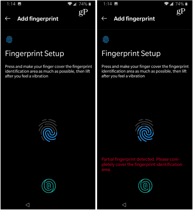 OnePlus 6T Reading and Registering Fingerprint