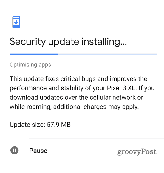 Google Pixel check for update