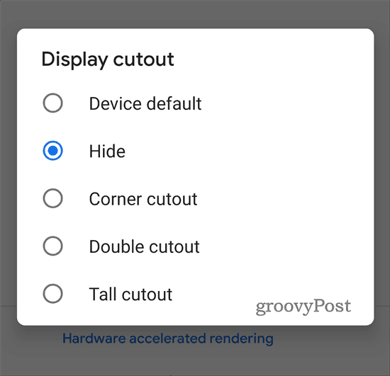 Google Pixel 3 XL Developer cutout options