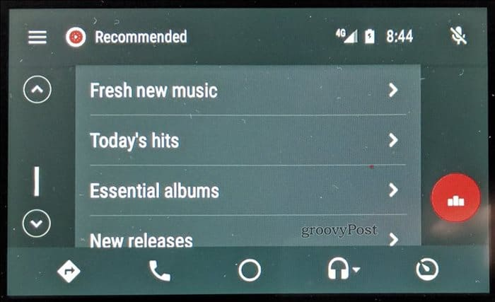 YouTube Music Android Auto to play recommended