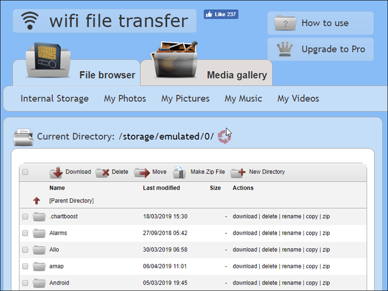 WiFi File Transfer pc